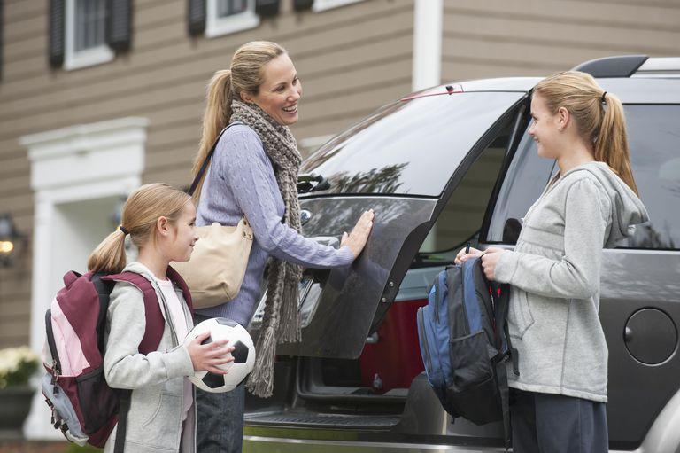 Family getting in van
