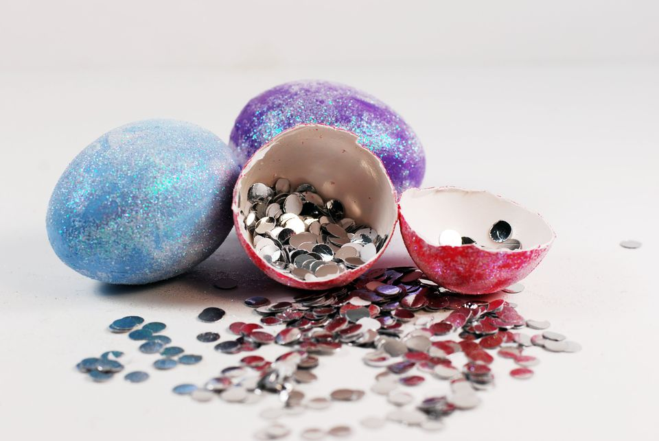paper confetti filled eggs