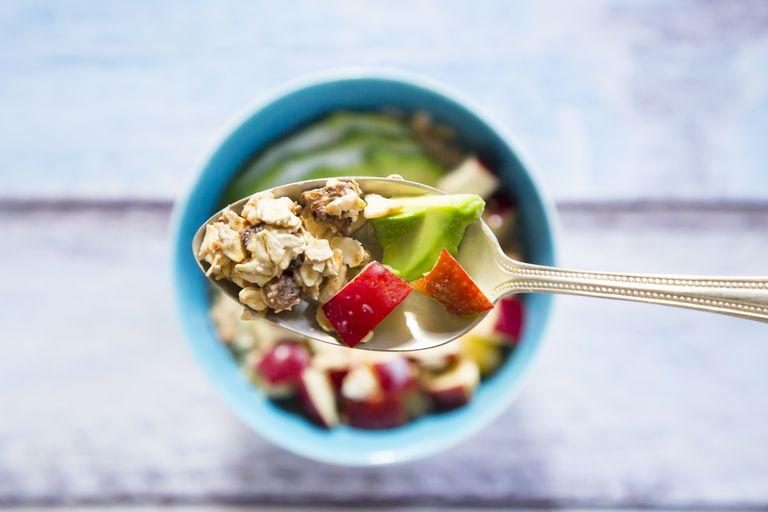 Granola, avocado, and apple breakfast