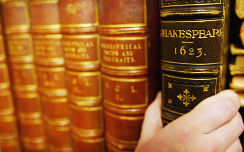 The previously unknown 1623 edition of William Shakespeare's First Folio, described as the most important work in the English Language, which will be going under the hammer at Bloomsbury Auction house on October 7, 2004 in London.