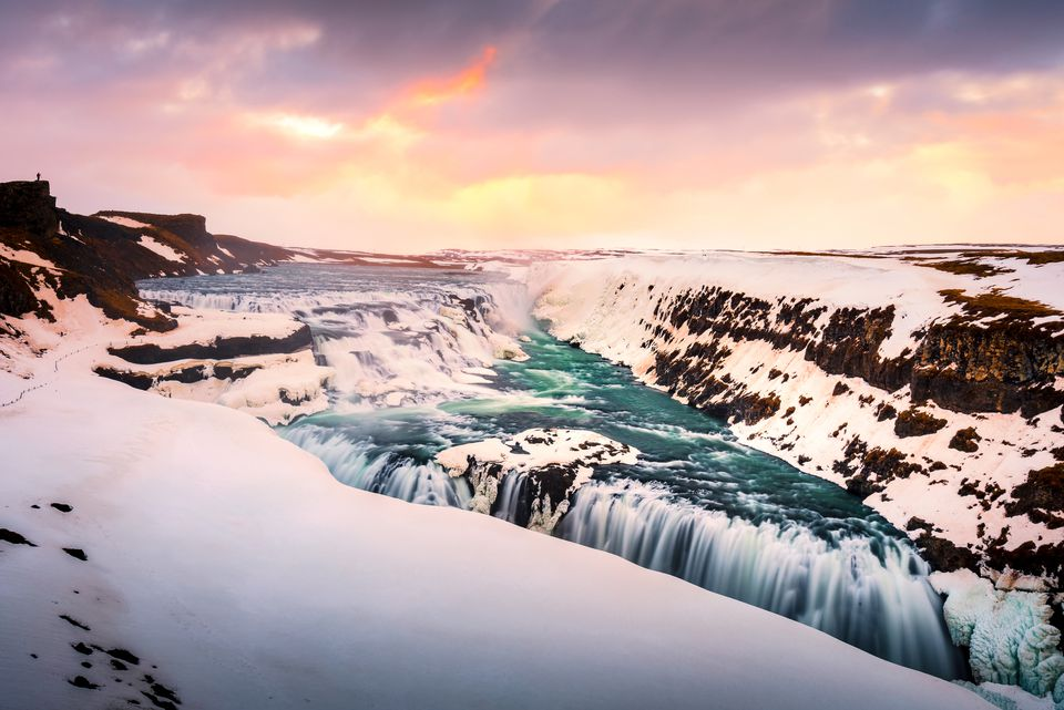Gullfoss Waterfall Iceland Winter