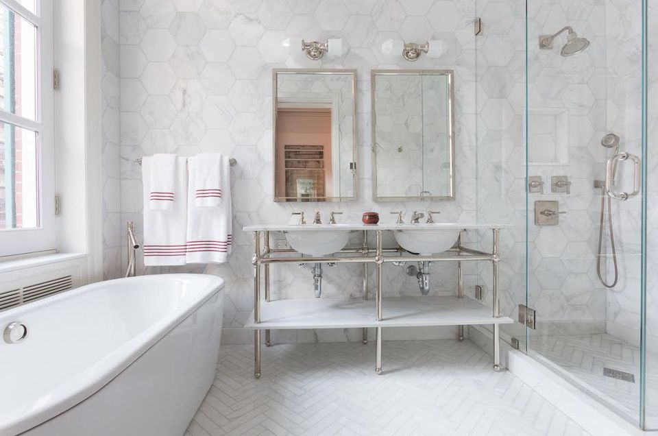 Ceramic Tile For Bathroom. Elegant Classically Styled Bathroom With Frameless Shower