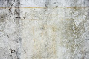 Concrete wall, cracked, rust streaked, detail
