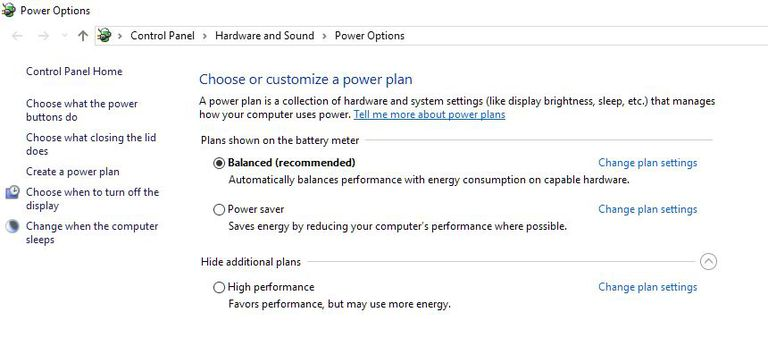 A screen shot of the Power Options window in Control Panel on a Windows 10 computer.