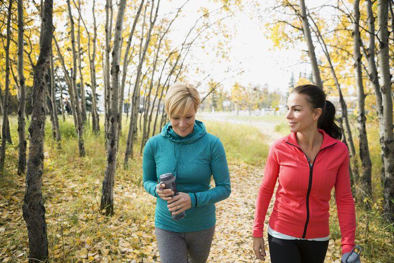 Walking Friends on an Autumn Path