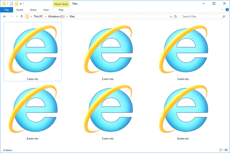 Screenshot of several XRM-MS files in Windows 10 that open with Internet Explorer