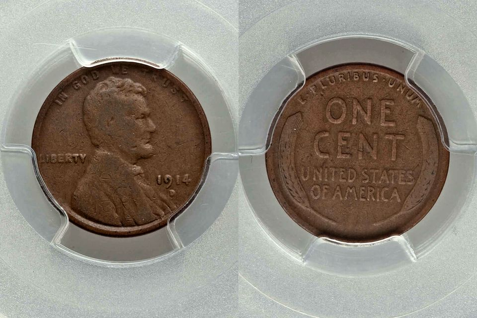 1914-D Lincoln Cent Graded VG-8 by PCGS
