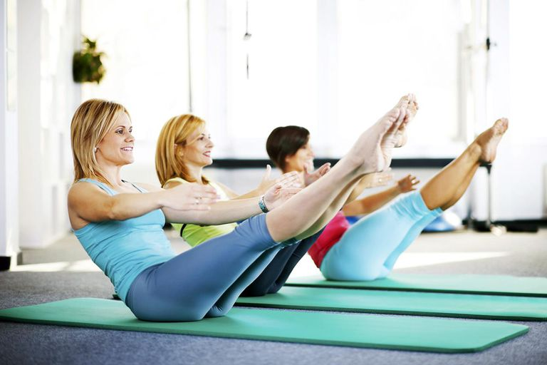 Women doing Pilates exercises on a exercising mat.