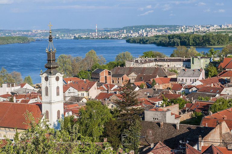 Serbia, Belgrade, view on Danube river and Belgrade from old Austro Hungarian town of Zemun