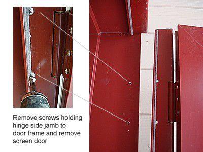 remove screen door frame screws