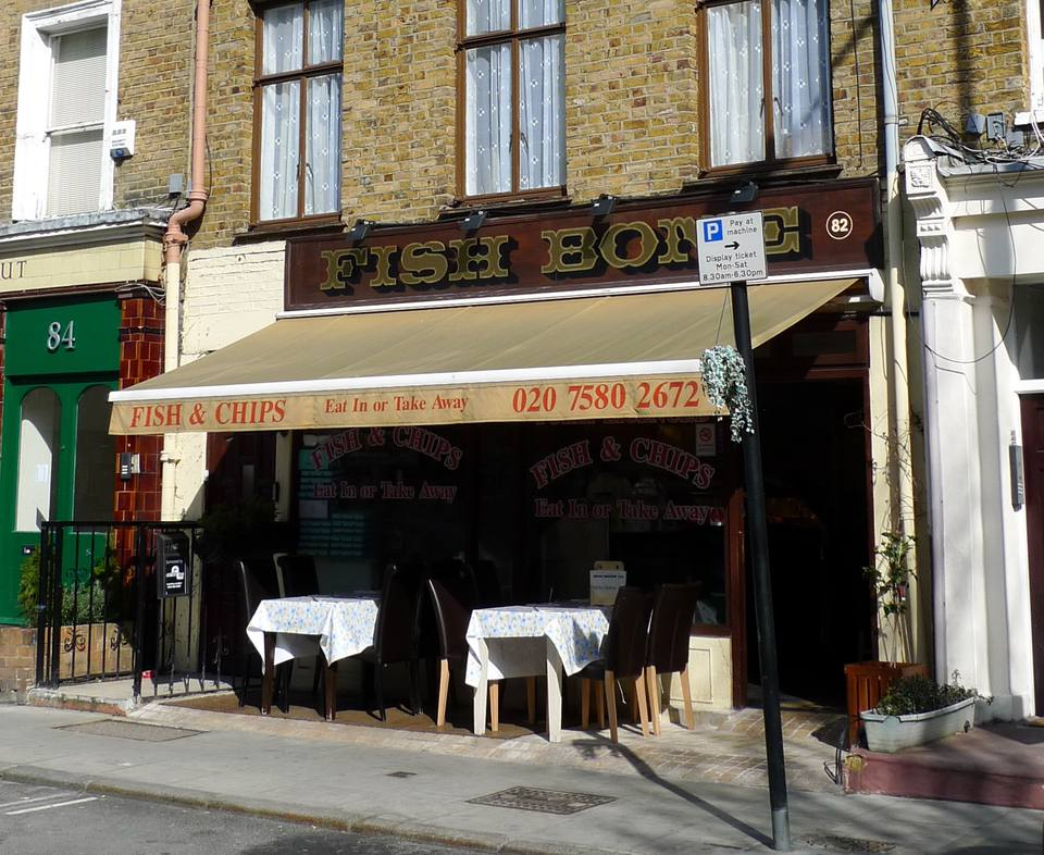 Best fish and chips in london for Fish and bone restaurant