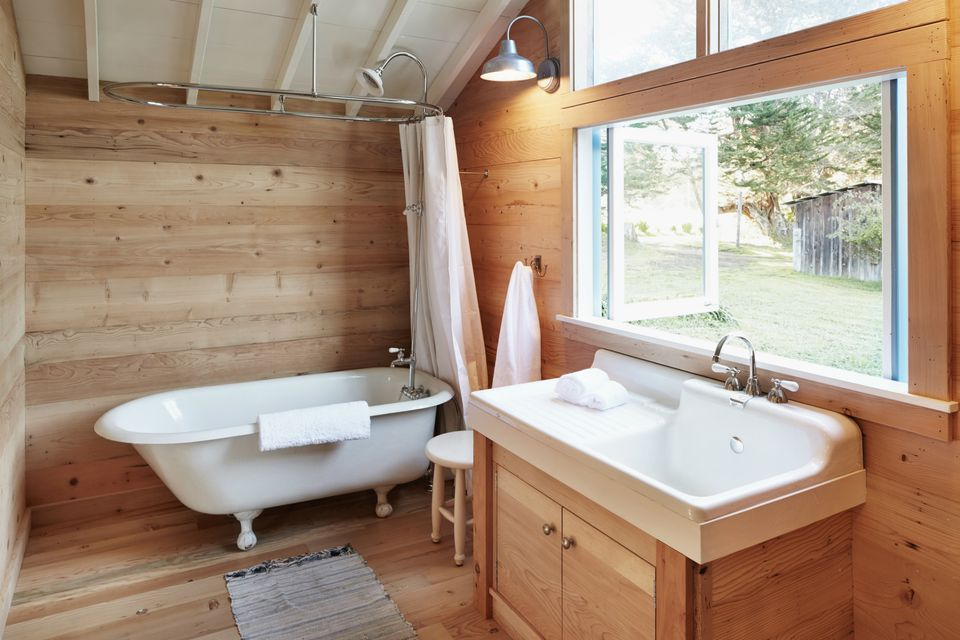 Wooden lined bathroom