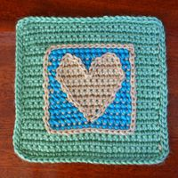 Combine Crochet and Cross Stitch to Create the Heart Design for This Afghan Square