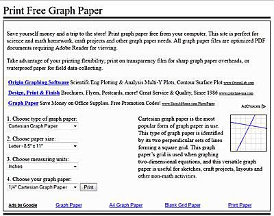 A screenshot of PrintFreeGraphPaper.com