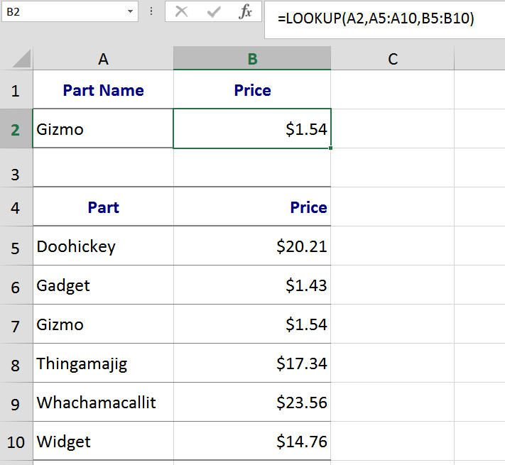 Find Specific Information with Excel's LOOKUP Function - Vector Form