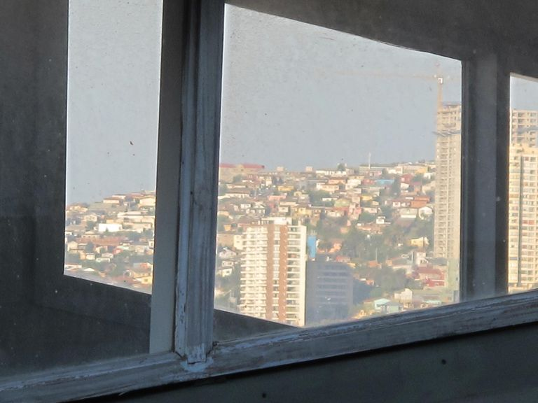 View through window of Valparaíso, Chile.