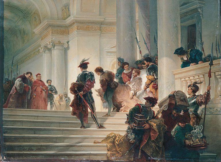 Cesare Borgia Leaving the Vatican, by Gatteri Giuseppe Lorenzo, 19th Century, oil on canvas