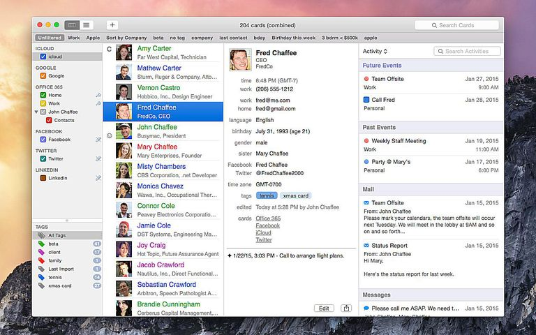 BusyContacts app running in OS X Yosemite