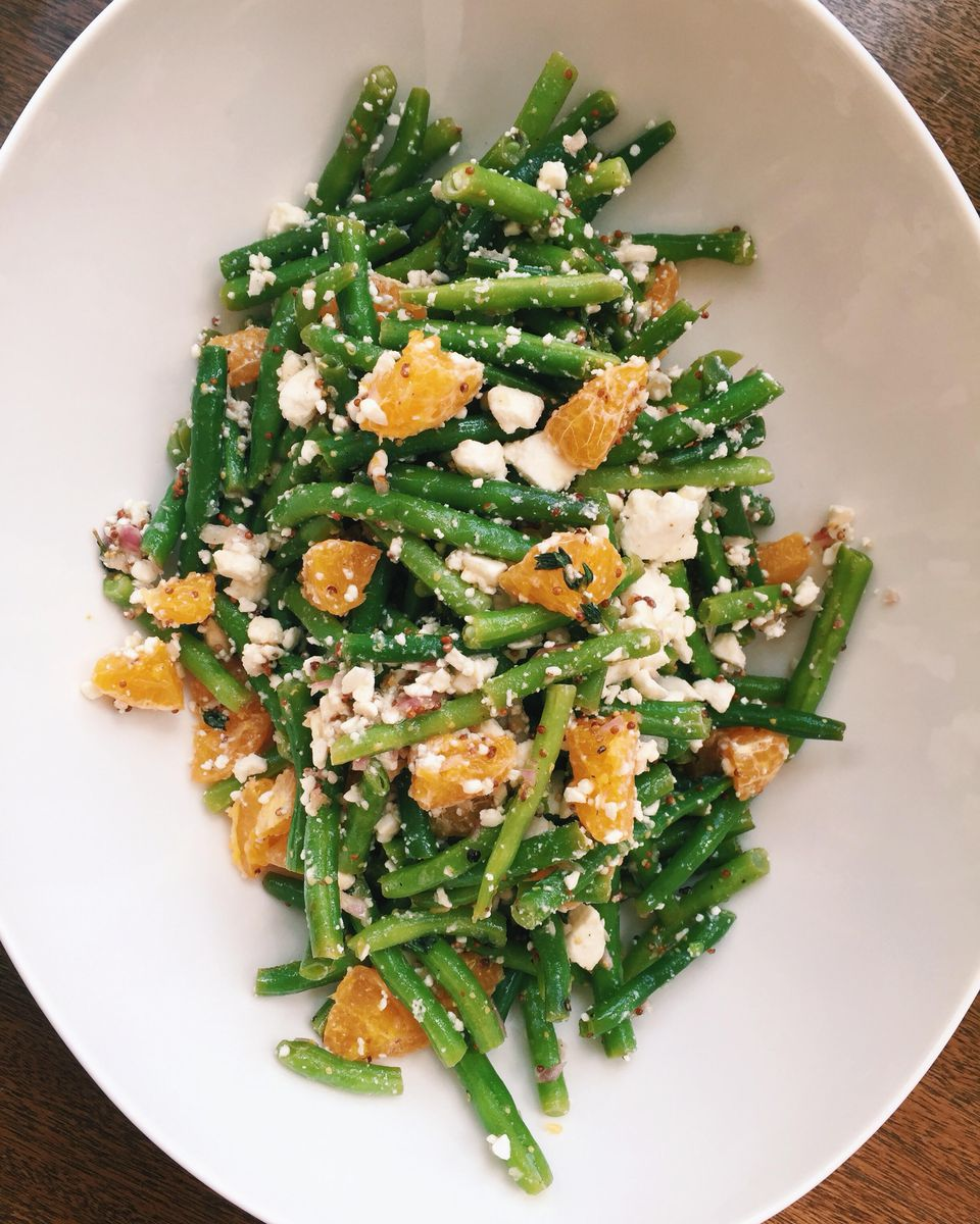 Green Bean Salad with Clementines, Bulgur Wheat and Feta