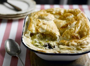 What A Great Combination Chicken Leek Cheese And Prunes In A Pie