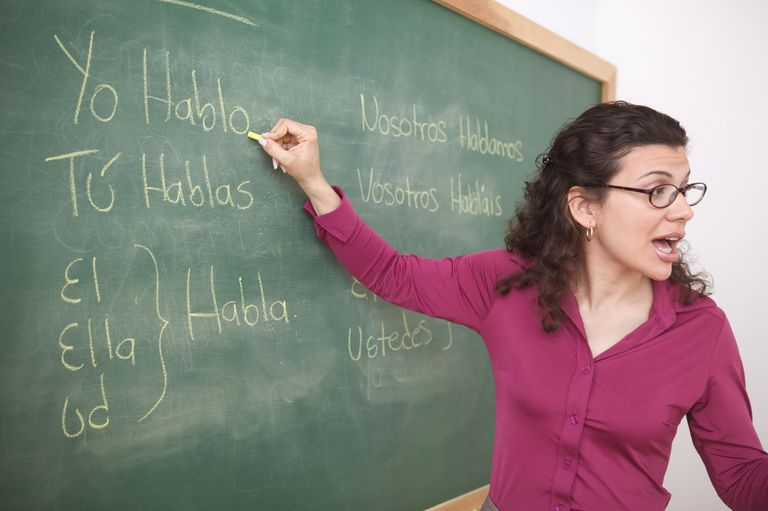 Teacher writing in spanish on chalkboard