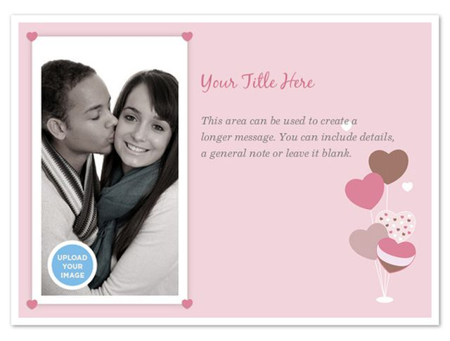 a pink valentine ecard with room for a photo