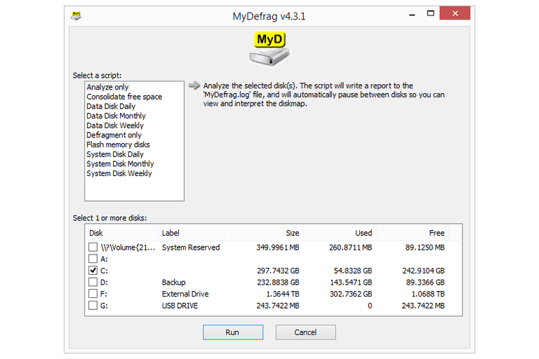 Screenshot of MyDefrag v4.3.1