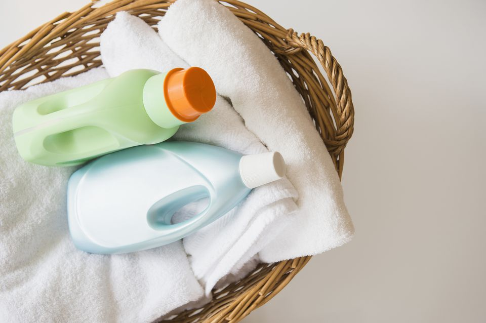 Basket with laundry and detergents
