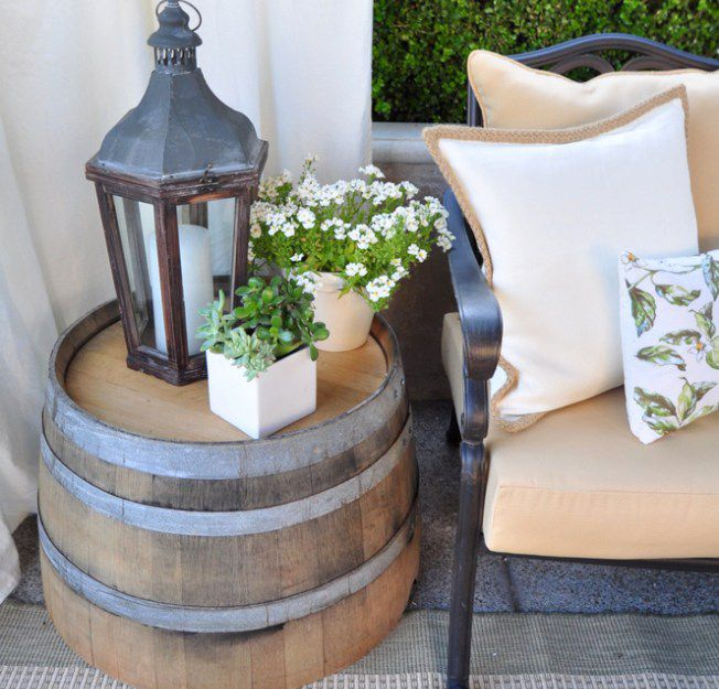 barrel side table on a patio