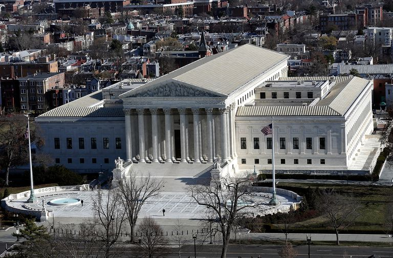 The U.S. Supreme Court is shown from the dome of the U.S. Capitol