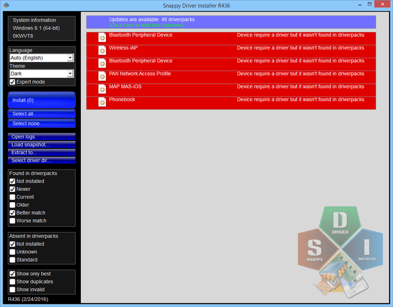 Screenshot of Snappy Driver Installer in Windows 8