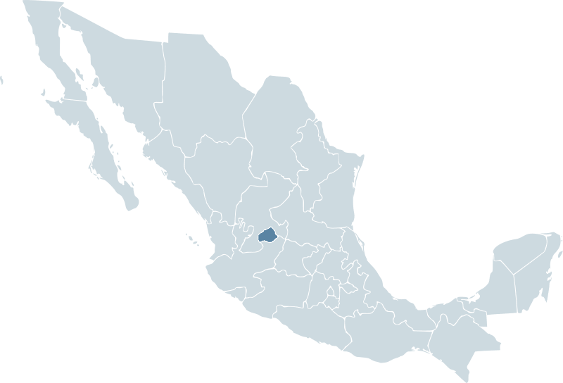 Map of Mexico showing Aguascalientes state