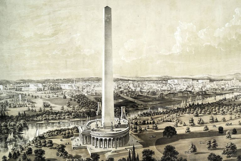 New York Public Library Image Of The Washington Monument With A Proposed But Unbuilt Circular Colonnade