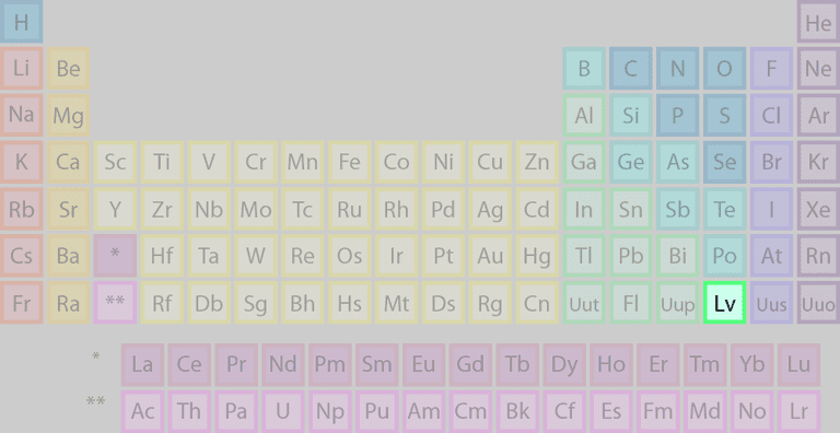 Livermorium or Lv is a synthetic radioactive element.