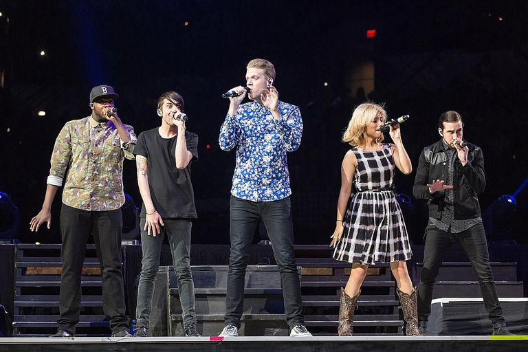 Vocalists Kevin Olusola, Mitch Grassi, Scott Hoying, Kirstie Maldonado, and Avi Kaplan of the a cappella group Pentatonix perform in concert as part of the San Antonio Stock Show & Rodeo at the AT&T Center on February 15, 2015 in San Antonio, Texas.