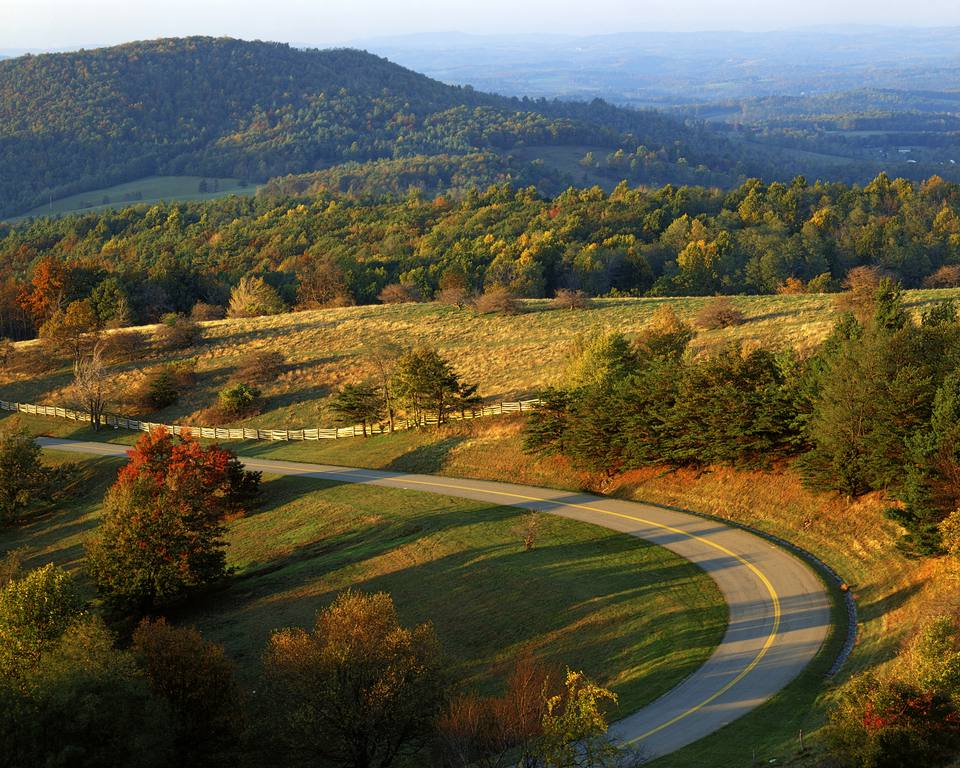 An aerial view of the Blue Ridge Parkway in Virginia