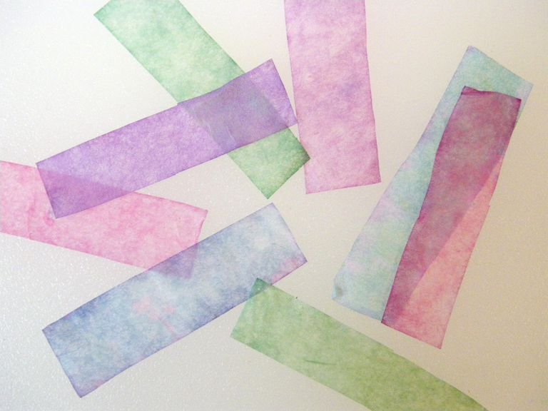 These pH paper test strips were made using coffee filters dipped in red cabbage juice.