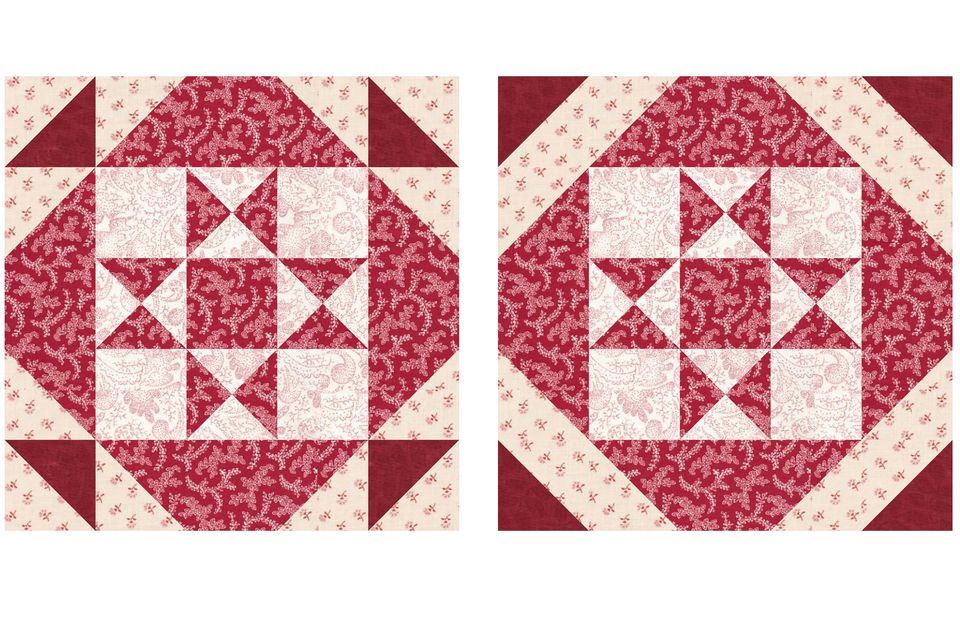 Square and a Half Patchwork Quilt Block Pattern