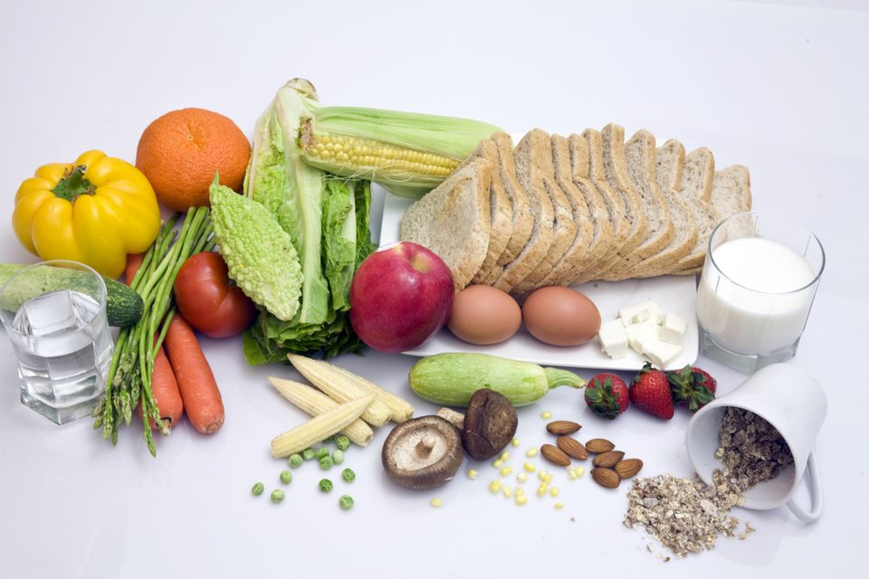 A collection of vegetarian foods: Fruits, vegetables, eggs, milk and grains