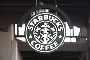 Starbucks sign in store window