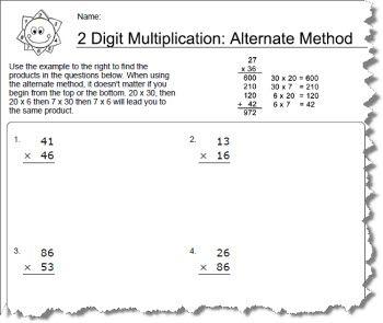 worksheets using an alternative method for 2 digit. Black Bedroom Furniture Sets. Home Design Ideas