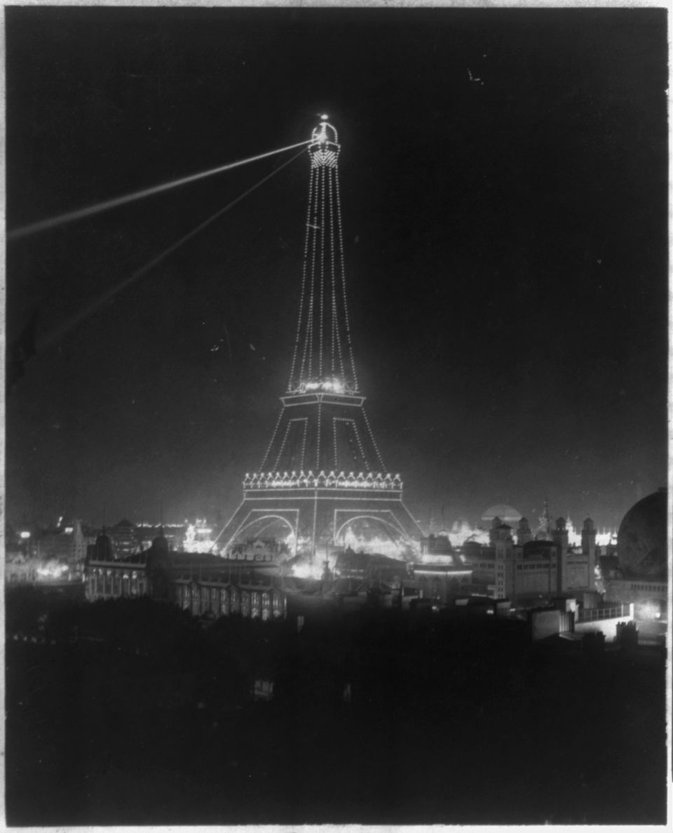 The Eiffel Tower as shot during the Universal Exhibition of 1900 in Paris.