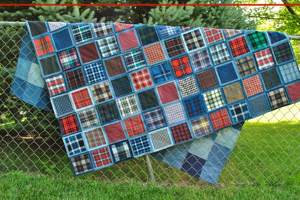 Make a gorgeous denim quilt from blue jeans for How to make a quilt template