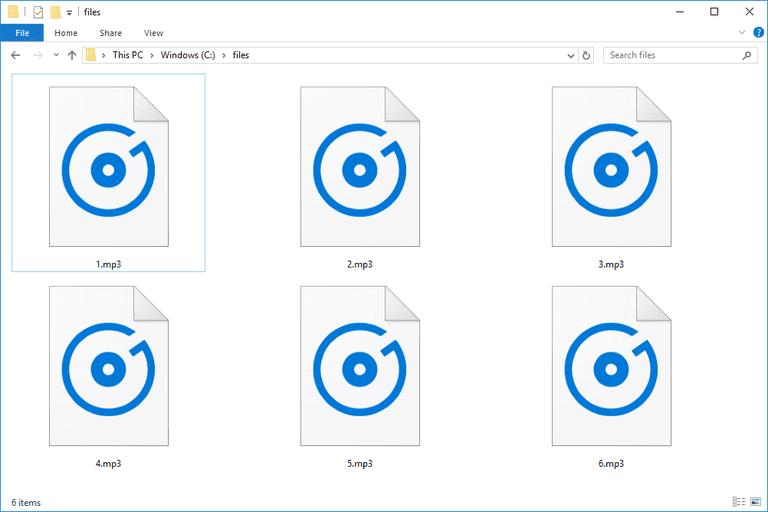 Screenshot of several MP3 files in Windows 10