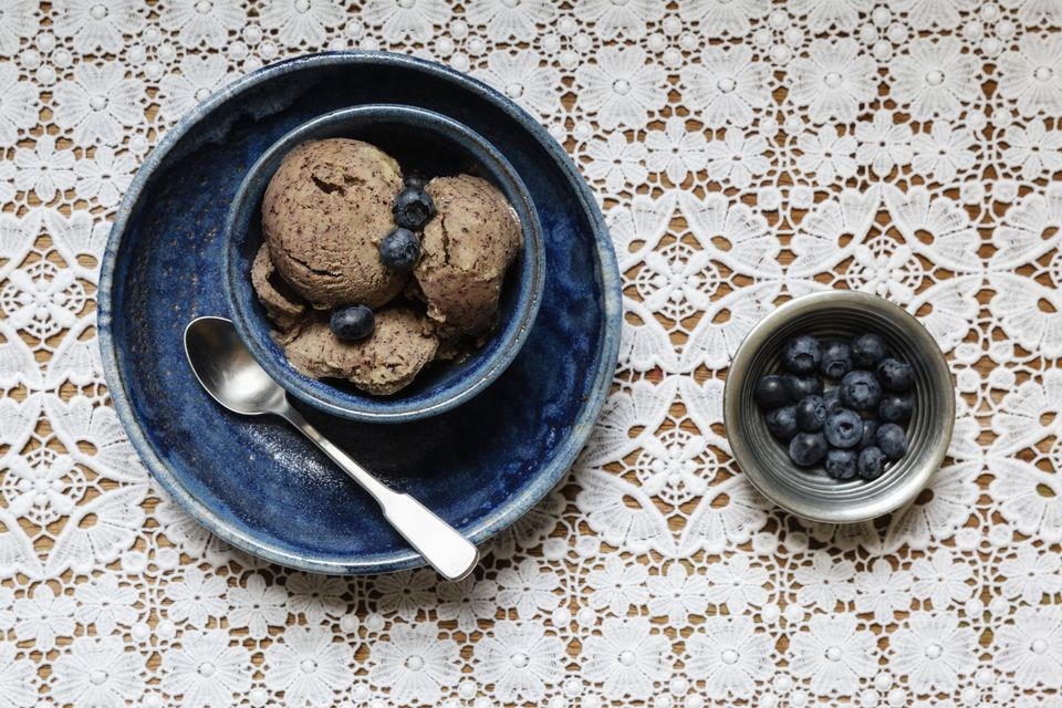 Bowl of vegan blueberry banana ice cream