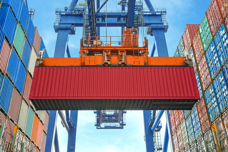 Crane loading containers