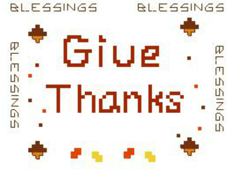 give thanks at thanksgiving cross stitch pattern