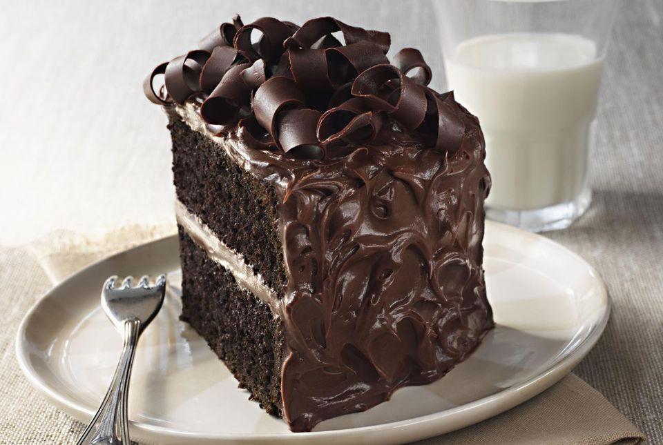 Slice of chocolate cake and glass of milk