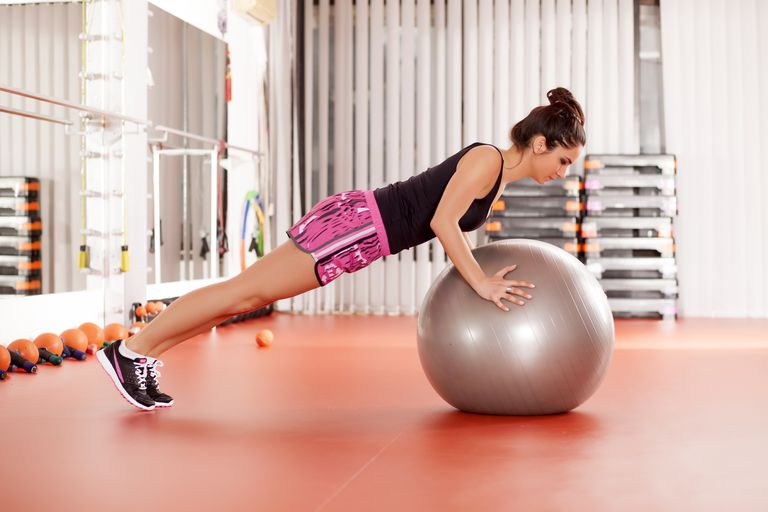 pushup on an exercise ball