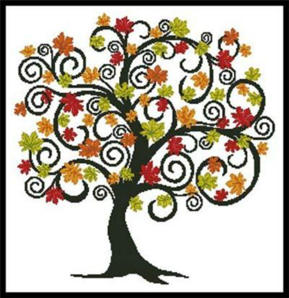 cross stitch autumn tree pattern